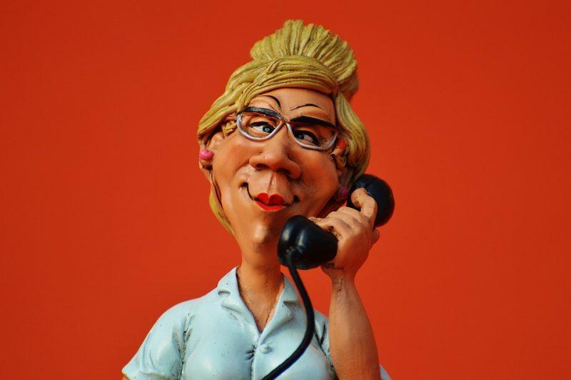 ritenuta, pupazza, segretaria, telefono