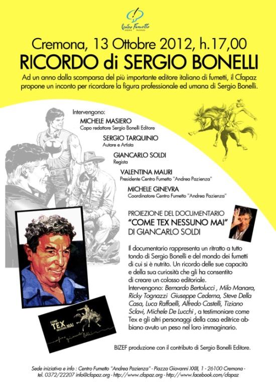 """Ricordo di Sergio Bonelli e proiezione documentario """"Come Tex nessuno mai"""""""