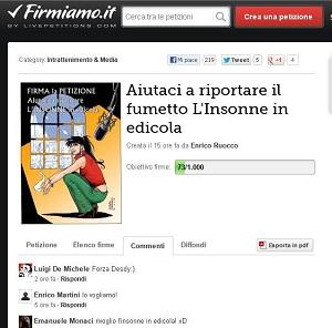 """Petizione per riportare in edicola """"L'Insonne"""""""