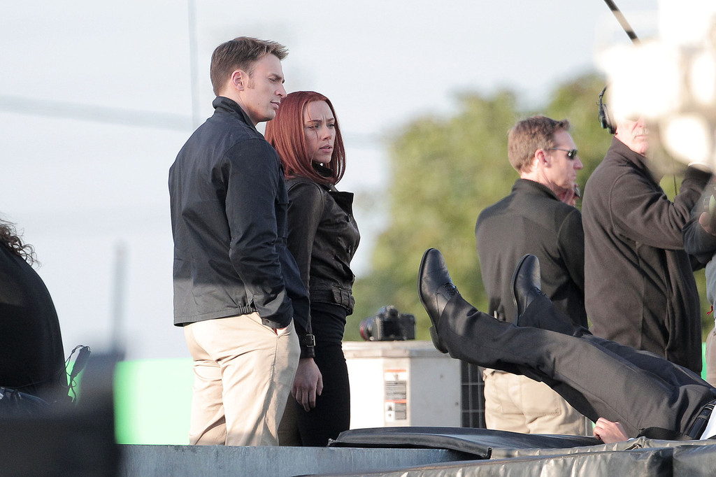 Captain America: The Winter Soldier - Chris Evans e Scarlett Johansson sul set_Notizie