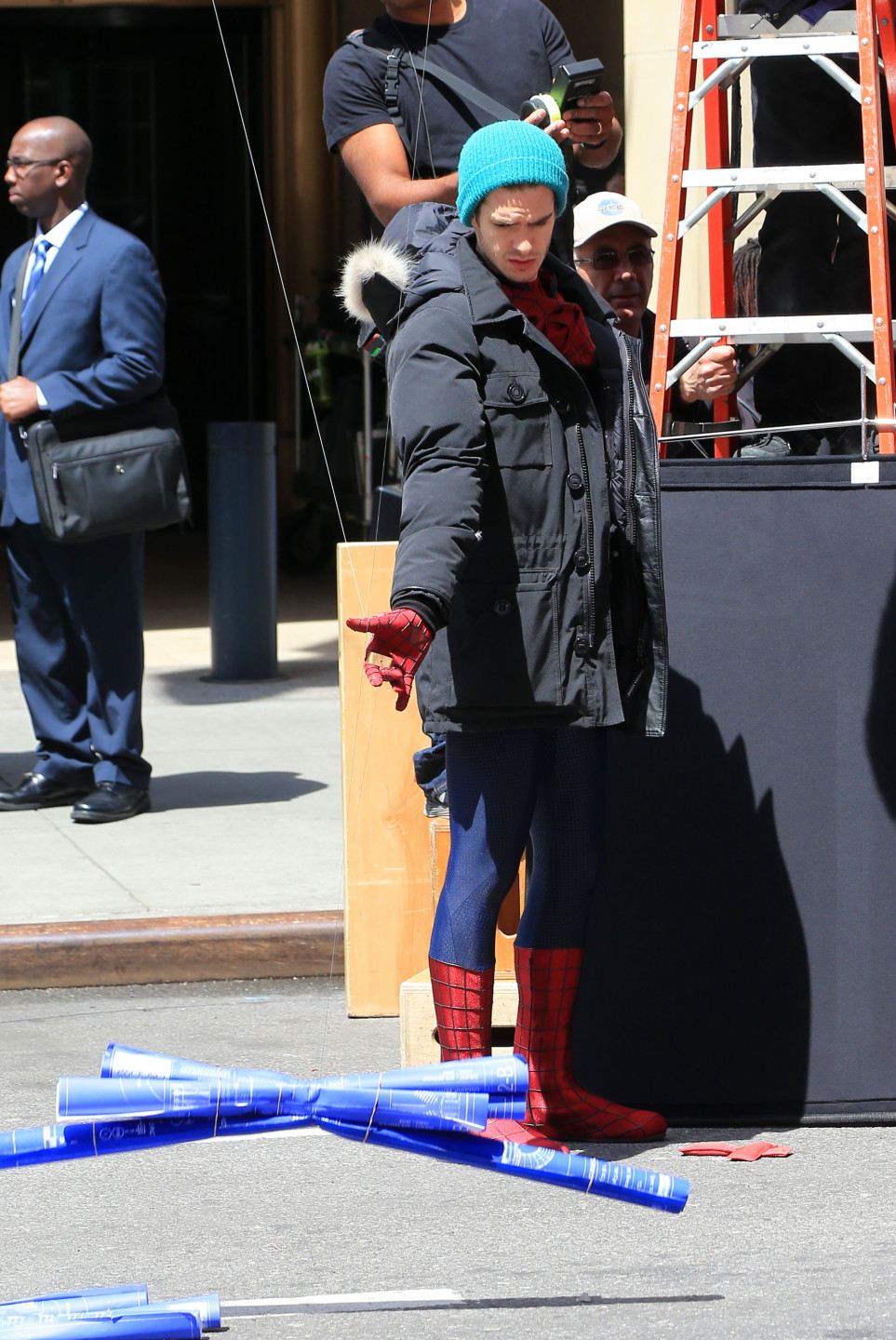 Andrew Garfield and Jamie Foxx on location for 'The Amazing Spider-Man 2' in NYC