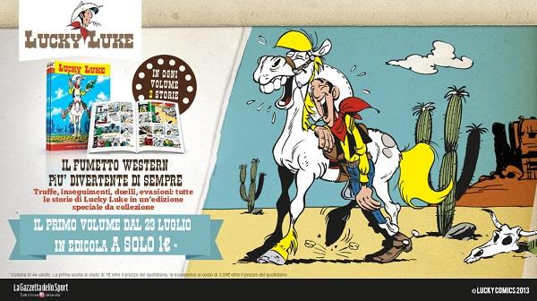 Dal 23 luglio la serie a fumetti di Lucky Luke in allegato al quotidiano La Gazzetta dello Sport