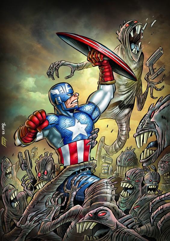 La versione definitiva della cover variant di Leo Ortolani per Capitan America