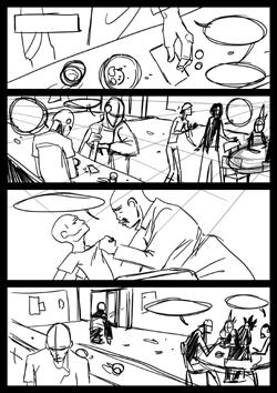 Storyboard di una pagina del fumetto