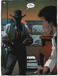 John Wayne [nella serie non ne viene mai mostrato il volto perché la casa editrice non ha acquistato i diritti per lo sfruttamento dell'immagine dell'attore. N.d.C.] nel n. 2, p. 16. © dc Comics/Vertigo.