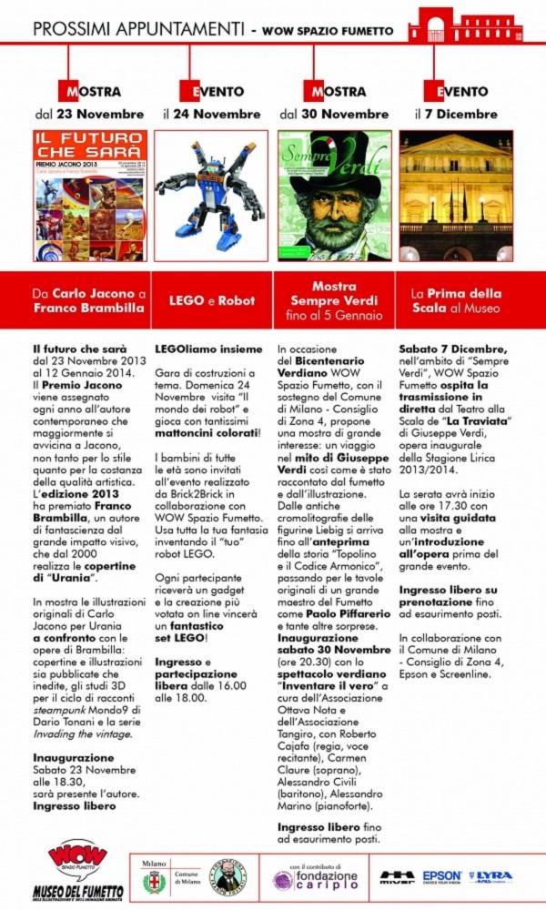 I nuovi appuntamenti con il WOW Spazio Fumetto di novembre - dicembre