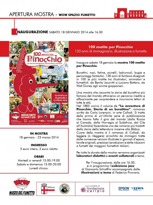"""Sabato 18 gennaio inaugurazione della mostra """"100 matite per Pinocchio"""" al WOW Spazio Fumetto"""