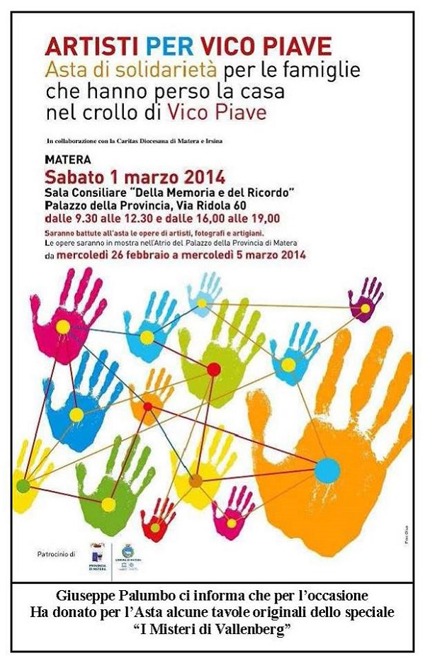 "Tavole originali di Giuseppe Palumbo per l'asta di solidarietà ""Artisti per Vico Piave"""