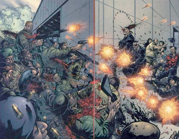 Dida: La splash page di Robertson in Fury n. 5 , pp. 5-6. © Marvel Comics.