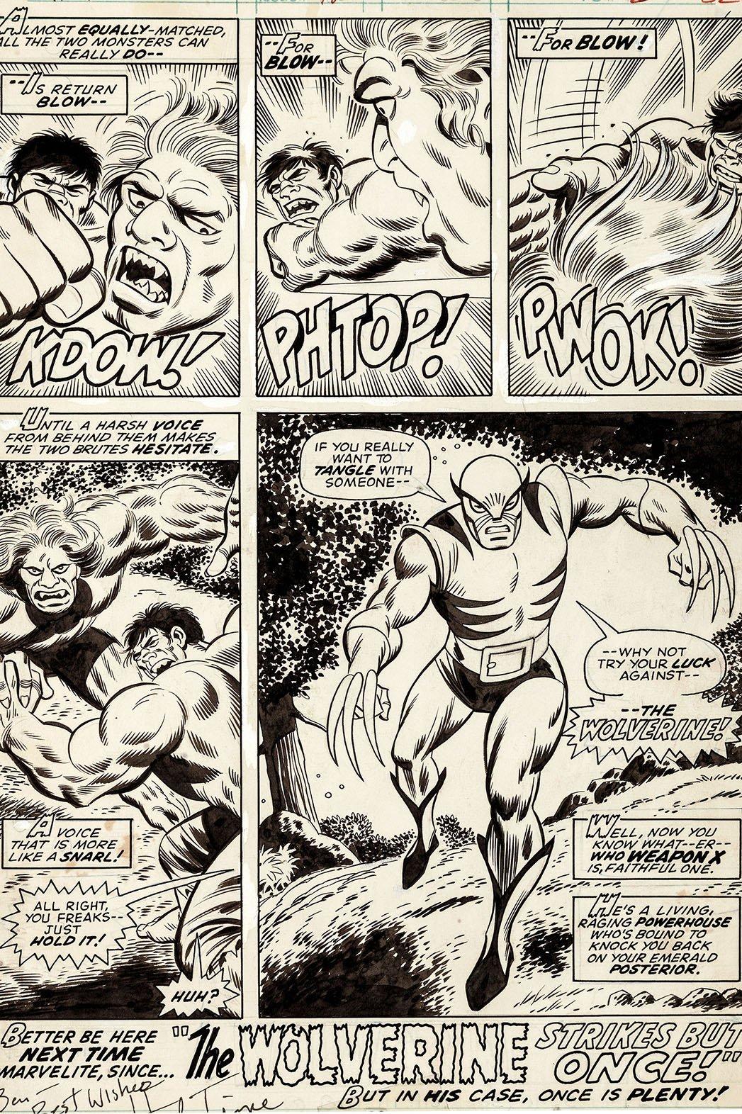 Tavola prima apparizione di Wolverine all'asta