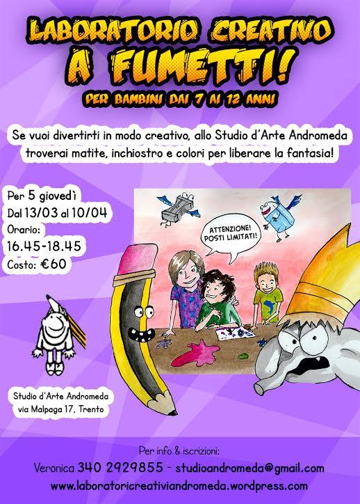 Continuano i laboratori creativi a fumetti per bambini organizzati dallo Studio d'Arte Andromeda
