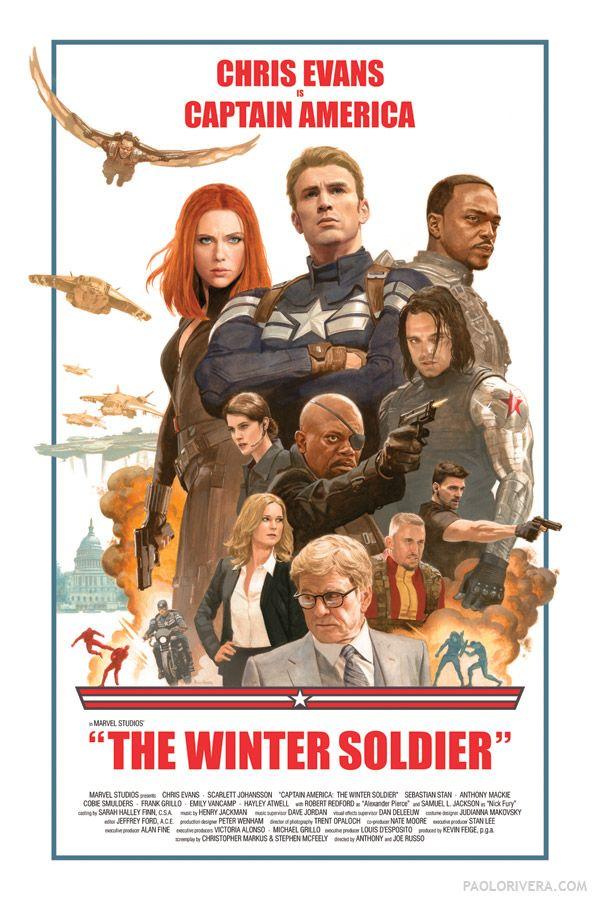Poster di Paolo Rivera per Captain America: The Winter Soldier