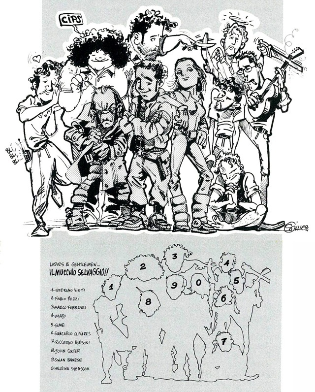 Il Gruppo Hammer in un disegno di gruppo realizzato da Gigi Simeoni nel 1994