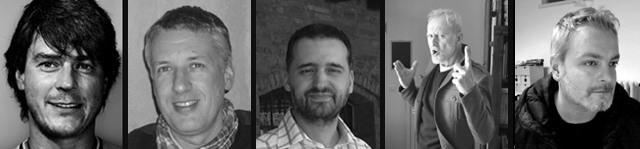 Cinque componenti del Gruppo Hammer. Da sin.: Gigi Simeoni, Stefano Vietti, Giancarlo Olivares, Mario Rossi (Majo) e Riccardo Borsoni