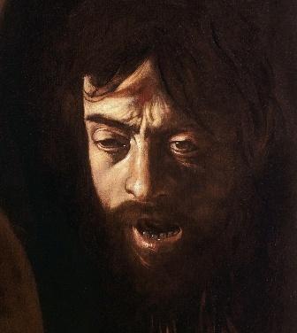 Particolare di una vignetta con l'inserimento dell'originale di Caravaggio