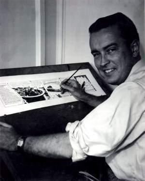 Jon Stables (1912-1999), il creatore di Brok Windsor, al tavolo da lavoro.