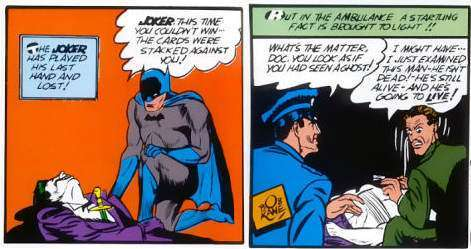 Il Joker colpito a morte (a sinistra) è in realtà sopravvissuto (a destra)