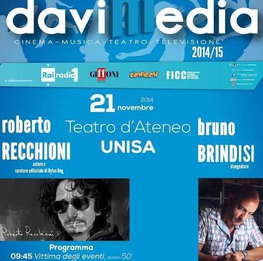 Venerdì 21 novembre, Davimedia ospita Roberto Recchioni e Bruno Brindisi