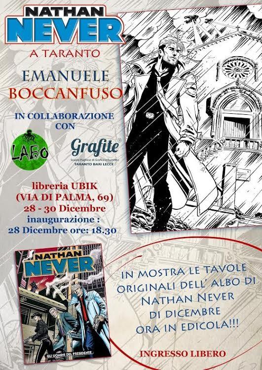 """Le tavole di Emanuele Boccafuso per """"Nathan Never"""" in mostra alla libreria Ubik di Taranto"""
