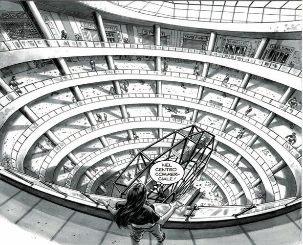 La scena del centro commerciale in tutta la sua bellezza: un'immagine che appare sprofondare in un baratro ed ha effetto horror vacui.