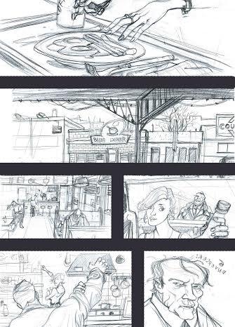 Rusty Dogs #31, disegni di Davide Garota. Bozza della prima tavola.