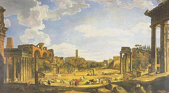 Giovanni Paolo Pannini (1691-1765), Veduta dal foro romano dal Campidoglio.