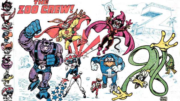 Il gruppo di Captain Carrot in una immagine degli anni '80