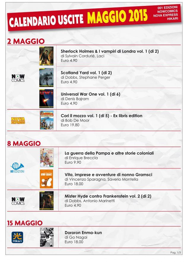 Le uscite 001 Edizioni di Maggio 2015
