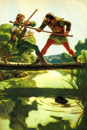Robin Hood e Little John. Illustrazione di Newell Convers Wyeth (1917)