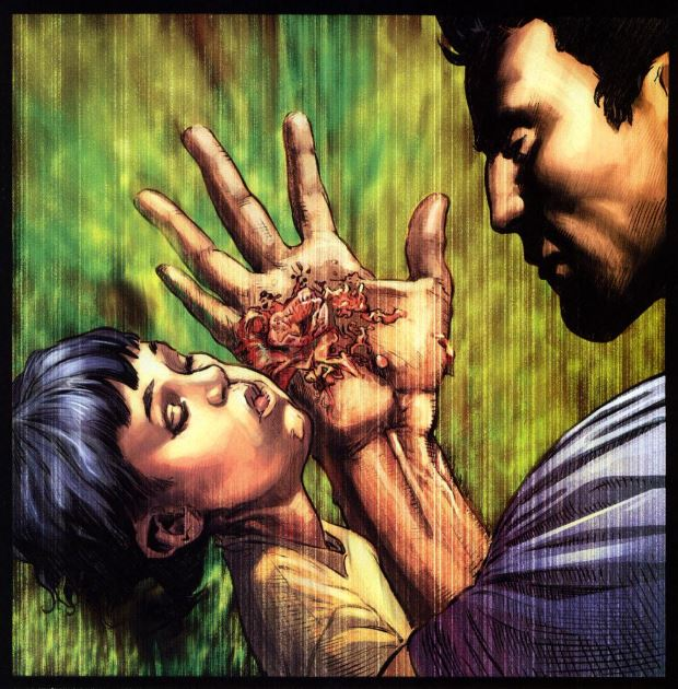 Dida: Frank e il figlio colpito a morte durante la sparatoria nel parco, da The Punisher vol. 5, n. 1, p. 5. © Marvel Comics.