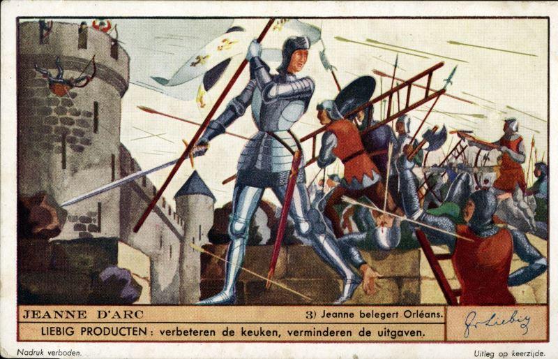 Giovana d'Arco guida i francesi all'assedio di Orleans - Figurina Liebig 1935