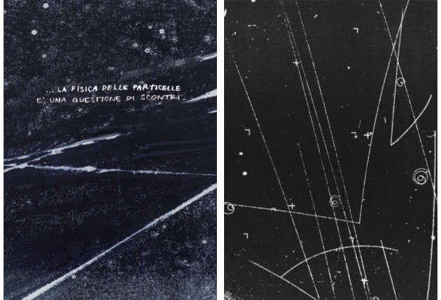 Confronto il risultato di una tipica interazione tra particelle in una camera a bolle (a destra, tratta da Treiman, S. (1959). The Weak Interactions Scientific American, 200 (3), 72-84) e l'interpretazione fornita da Silvia Rocchi (a sinistra)