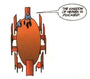 """""""Il regno dei cieli è fottuto"""" in Preacher n. 3, p. 2. © dc Comics/Vertigo."""
