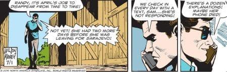 """Una recente striscia di """"Judge Parker"""" di Woody Wilson e Mike Manley."""