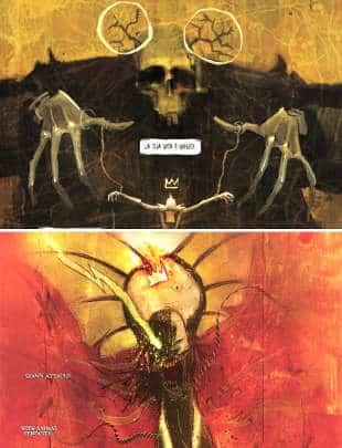 Confronto tra Giulio RIncione (sopra) e Ben Templesmith (sotto - illustrazione da Hellspawn #15)