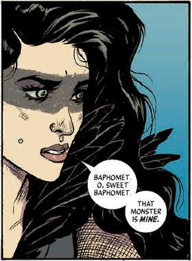 La Morrigan nell'interpretazione di Leila del Duca.