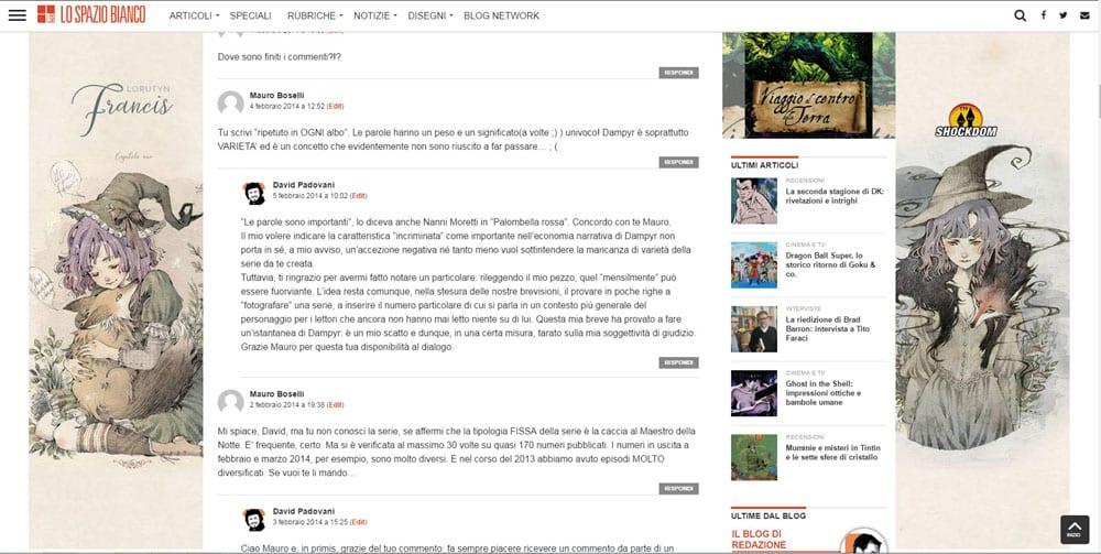 Fumetto e critica web: l'età dei pionieri – Rapporti con lettori e autori