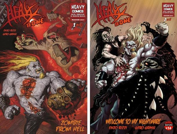 La nuova miniserie di Heavy Bone: da sinistra, numero 1 con cover di Rafa Garres e numero 2 con cover di Maurizio Rosenzweig