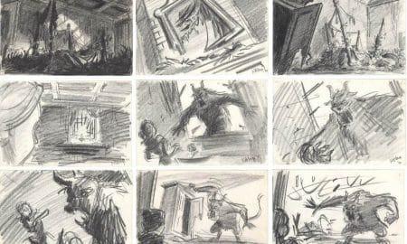 storyboard per La bella e la bestia - originale esposto in mostrat