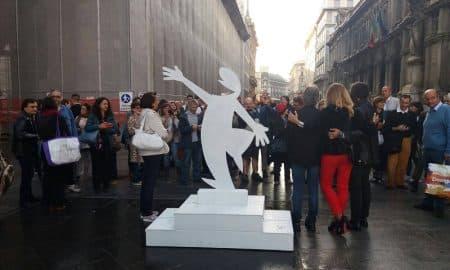 La statua della Linea che troverà collocazione al Museo del fumetto di Milano