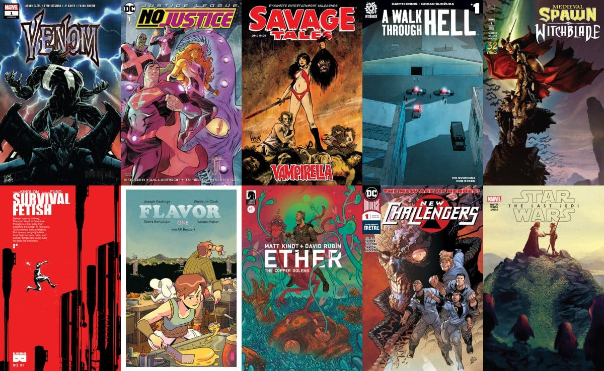 Venom, Justice League e Medieval Spawn su First Issue #25
