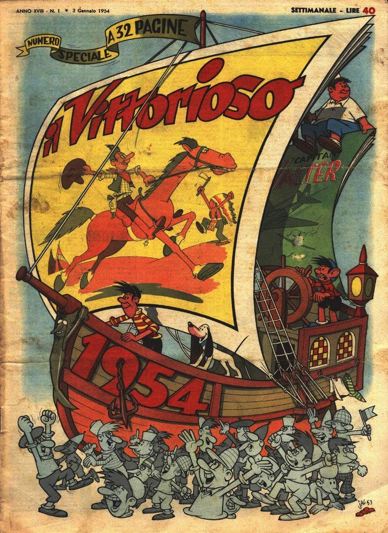 La copertina di Capodanno 1954 del Vittorioso, illustrata da Jacovitti