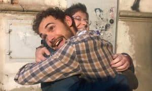 L'abbraccio con Lorenzo Palloni