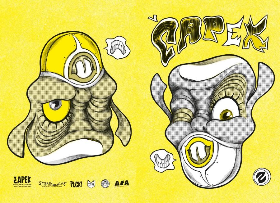 La copertina di Capek 2 chiaro disegnata da Francesca Ghermandi - fronte e retro
