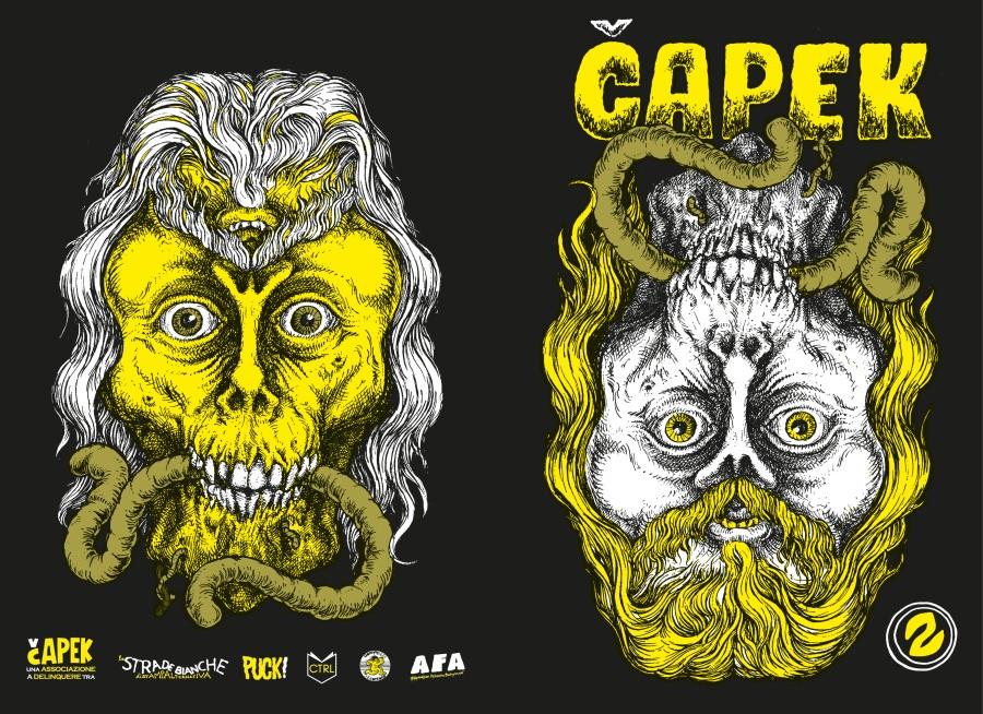 La copertina di Capek 2 scuro disegnata da Bruno Nadalin - fronte e retro