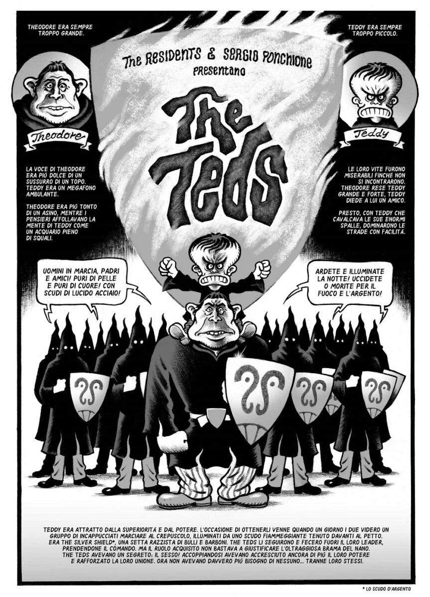 La prima pagina della storia THE TEDS, scritta dai Residents e disegnata da Sergio Ponchione